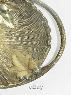05c72 Ancien Gros Plat Coupe Vide Poche Sculpture Bronze Dore Vigne Raisin Vin