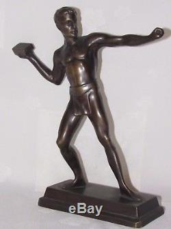 11d13 Ancienne Statue Sculpture Bronze Patine Nu Masculin Athlète Art Déco 1930