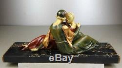 1920/1930 A Godard Rare Statue Sculpture Art Deco Pat Chryselephantine Elegantes