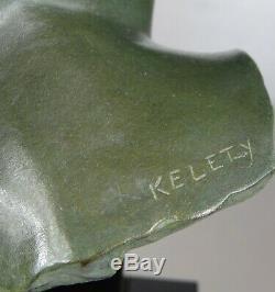 1920/1930 A. Kelety Excpt Rare Grde Statue Sculpture Art Deco Bronze Femme Suprb