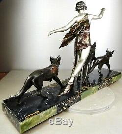 1920/1930 Amelia Cate De Latour Grd Statue Sculpture Art Deco Diane Chiens Loups