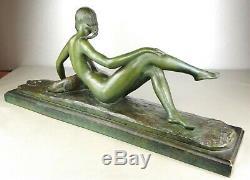 1920/1930 Ary Bitter Rare Grd Statue Sculpture Art Deco Fillette Nue Terre Cuite