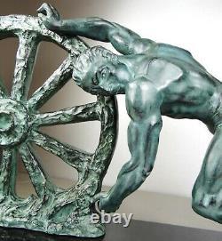 1920/1930 At. Max Le Verrier Grd Statue Sculpture Art Deco Athlete Homme Nu Roue