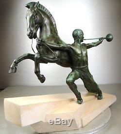 1920/1930 Charles Max Le Verrier Rare Statue Sculpture Art Deco Homme Nu Cheval