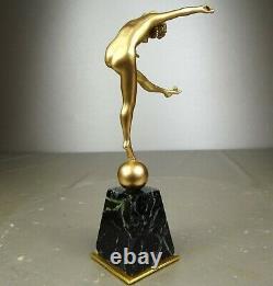 1920/1930 Cjr. Colinet Statue Sculpture Art Deco Bronze Dore Danseuse Nue Boules