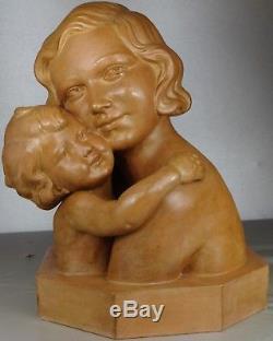 1920/1930 D. Daniel Statue Sculpture Art Deco Femme Enfant Terre Cuite Maternite