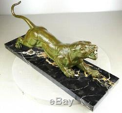 1920/1930 D. H. Chiparus Rare Statue Sculpture Animaliere Art Deco Panthere Felin