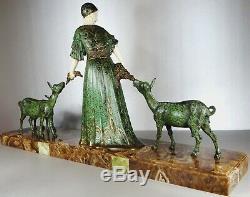 1920/1930 D. H. Chiparus Statue Sculpture Art Deco Chryselephantine Femme Chevres