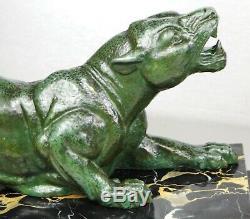 1920/1930 Dh. Chiparus Grande Statue Sculpture Ep Art Deco Chasse Panthere Felin