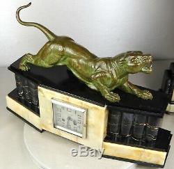 1920/1930 Dh. Chiparus Rare Pendule Garniture Statue Sculpture Art Deco Panthere