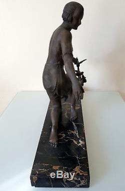 1920/1930 G Arisse Grande Statue Sculpture Art Deco Oiseliere Femme Oiseaux