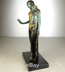 1920/1930 G Van De Voorde Rare Belle Statue Sculpture Ep Art Deco Femme Elegante