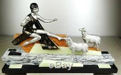 1920/1930 Geo Maxim G Omerth Rare Statue Sculpture Art Deco Femme Bergere Mouton