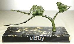 1920/1930 Gh Laurent Statue Sculpture Animaliere Art Deco Bronze Oiseaux Mesange