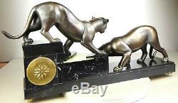 1920/1930 I. Rochard Rare Pendule Statue Sculpture Art Deco Panthere Noire Felin