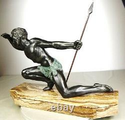 1920/1930 J De Roncourt Supb Statue Sculpture Art Deco Homme Athlete Nu Chasseur