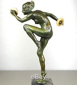 1920/1930 L. Alliot Rare Statue Sculpture Art Deco Bronze Danseuse Nue Cymbales