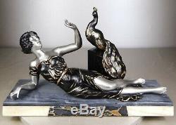 1920/1930 L. Brunswick Rare Statue Sculpture Art Deco Femme Elegante Paon Oiseau