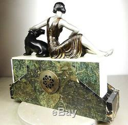 1920/1930 Limousin Pendule Sculpture Statue Art Deco Femme Panthere Noire Felin