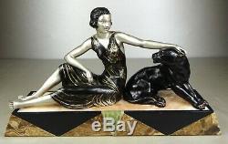 1920/1930 Limousin Rare Spb Statue Sculpture Art Deco Femme Panthere Noire Felin