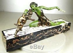 1920/1930 Limousin Rare Statue Sculpture Art Deco Femme Danseuse Chevreau Animal