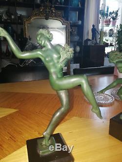 1920/1930 Max Le Verrier 2 Statues Sculptures Art Deco Femme Nue A Restaurer