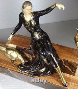 1920/1930 Menneville Grnde Rare Statue Sculpture Art Deco Chryselephantine Femme