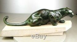 1920/1930 Meriadec Max Le Verrier Grnde Statue Sculpture Art Deco Panthere Felin
