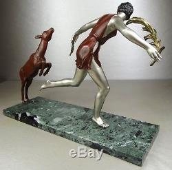 1920/1930 Nitche Grande Statue Sculpture Art Deco Diane Chasseresse Biche Femme