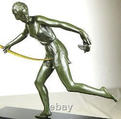 1920/1930 Nitche Grd Statue Sculpture Ep Art Deco Diane Chasseresse Femme Oiseau