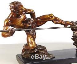 1920/1930 P Berjean Rare Statue Sculpture Art Deco Bronze Dore Chasseur Panthere