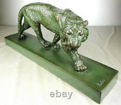 1920/1930 Rulas Statue Sculpture Art Deco Animaliere Panthere Felin Terre Cuite