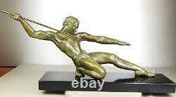 1920/1930 S Riolo Grd Statue Sculpture Art Deco Athlete Sportif Homme Nu Javelot
