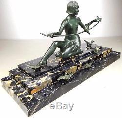 1920/1930 Z Kovats Rare Grande Statue Sculpture Art Deco Bronze Danseuse Oiseaux