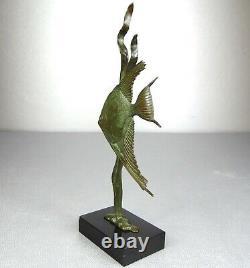 1920/30 Av Becquerel Statue Sculpture Art Deco Bronze Animalier Poisson Scalaire