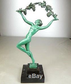 1920/30 Guerbe P. Le Faguays M Le Verrier Statue Sculpture Art Deco Danseuse Nue
