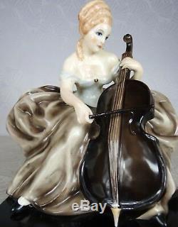 1920/30 Pugi Statue Sculpture Art Deco Femme Violoncelle No Cacciapuoti Faïence