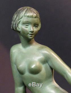 1920 superbe paire statues sculpture bronze signée LIMOUSIN art nouveau déco