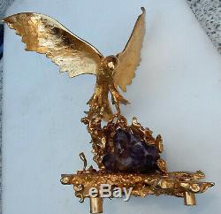 1970' Aigle en Bronze Doré Par Boeltz Signé Avec Amethiste