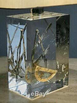 1970 Giraudon 2 Lampes Inclusion Sculpture Shabby-chic Lucite Plexiglas Pop