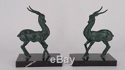 2 gazelles période Art Deco, dlg Max Le Verrier, statues sculptures serre-livres
