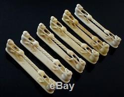 6 porte couteaux sculpture singes Art Déco os de boeuf Old knife holder monkey