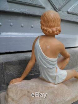 ANCIENNE STATUE DE FEMME ART DECO signée SCULPTURE 1930 XXeme
