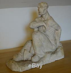 Alcide Mathieux, 1930, Le Bucheron, Plâtre d'Atelier Art-deco-Sculpture Originale