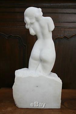 Amédéo GENNARELLI Femme nue Sculpture en marbre de Carrare Art Déco
