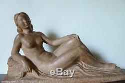 Ancien Sculpture Nu Art Deco Terre Cuite Lucien Gibert Old Nude Terracotta 30