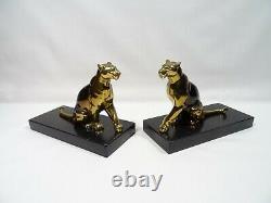 Ancien Serre Livre Art Deco Panthere Signe Tedd Sculpture Animaliere