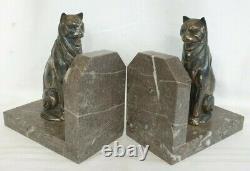 Ancien Serre livre CHAT, Art Déco, sculpture chat en régule et support marbre