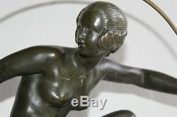 Ancien bronze Art déco Danseuse au cerceau signé André BOURAINE H 47.5 cm