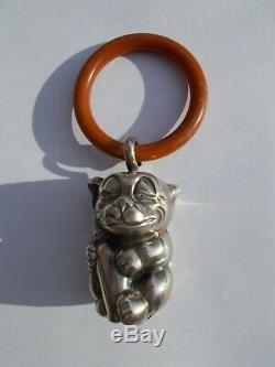 Ancien hochet art deco ELLDEE Bonzo dog antique 30s rattle baby sculpture figure